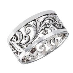 Sterling Silver Filigree Vine Band Ring Sizes: 7, 8, 9