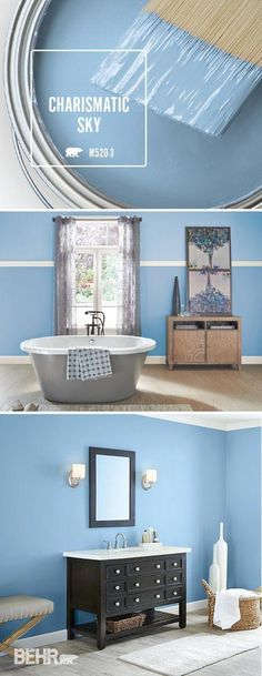 Inspired by the beauty of spring, Charismatic Sky is the perfect BEHR Colour of the Month for April. This pastel blue hue is an unexpected pop of colour in your home. While this bathroom uses light wood flooring and bright white trim to create a classic s Interior Paint Colors, Paint Colors For Home, House Colors, Light Blue Paint Colors, Sky Blue Paint, House Paint Interior, Interior Painting, Paint Colours, Behr Colors