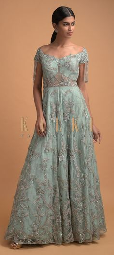 Spruce Green Ball Gown In Net With Off Shoulder Neckline Trimmed With Beads Fringes Online - Kalki Fashion Reception Gown, Fringes, Party Wear, Ball Gowns, Neckline, Sequins, Free Shipping, Beads, Formal Dresses