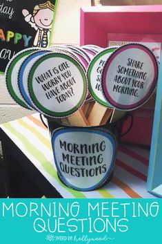 Morning Meeting Questions these are such a wonderful idea for students who are not great and asking questions or who have fears of talking aloud 2nd Grade Classroom, Future Classroom, Classroom Meeting, Kindergarten Classroom Organization, School Organization, Classroom Themes, Building Classroom Community, Kindergarten Centers, Creative Classroom Ideas