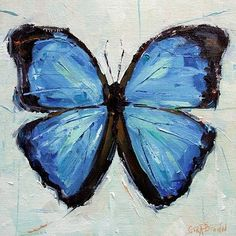 """""""Every Day is Spring""""  Blue Butterfly oil painting by impressionist artist Gina Brown"""