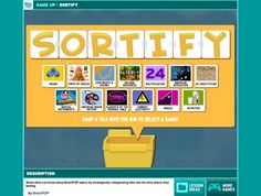 free open-ended game for all grade levels Sortify: this is a FREE online printable game for all grade levels and subject areas!Sortify: this is a FREE online printable game for all grade levels and subject areas! Teaching Technology, Teaching Music, Teaching Resources, Classroom Games, Classroom Organization, Google Classroom, Classroom Ideas, Educational Websites, Educational Technology