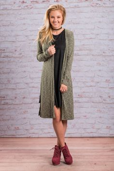 """""""It's All Good Cardigan, Olive"""" It's all good when you have this chill cardi! It's not only super light and comfy, it's also a gorgeous shade of olive! We are also super in love with it's length!  #newarrivals #shopthemint"""