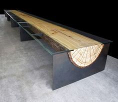 LOVE this log table - would be better if it was real wood rather than engineered, but hey, you can't have everything! Metal Furniture, Industrial Furniture, Custom Furniture, Furniture Design, Building Furniture, Furniture Ideas, Bathroom Furniture, Deck Furniture, Smart Furniture