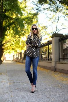 Gold polka dot top. Absolutely stunning