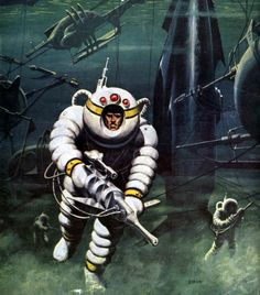 "Wow, outrageous futuristic deep sea diving gear in this 1956 detail from Ed Emshwiller's cover for ""Slave Ship."" Love the dark mood here and this kind of underwater graveyard for lost vessels."