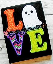 Love Ghost Applique - 4 Sizes!   Words and Phrases   Machine Embroidery Designs   SWAKembroidery.com Creative Appliques