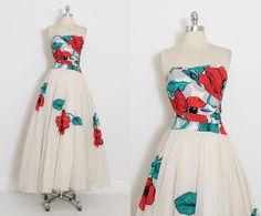 Vintage 40s Dress  1940s poppy print dress  silk mesh