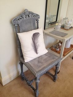 French Chair painted in Autentico Chalk Paint in Pigeon Grey then dry brushed over with Corfu White to enhance the carved detail... Clear Wax to finish to seal and protect it