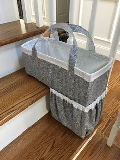 """One Trip Up"" Stair Basket Pattern Sewing Hacks, Sewing Crafts, Sewing Tips, Stair Basket, Nest Design, Pattern Paper, Clutter, Diy Home Decor, Stairs"
