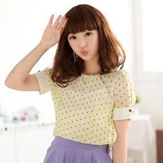 item # 1035466515 Buy '59 Seconds � Short-Sleeved Contrast Cuff Dotted Top' with Free International Shipping at YesStyle.com. Browse and shop for thousands of Asian fashion items from Hong Kong and more!