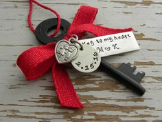 Key to my heart skeleton key ornament - hand stamped - personalized - valentines day love red - kissing couple heart charm - rustic keepsake