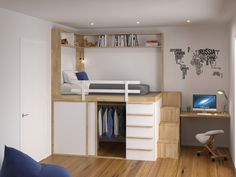 Small Room Design Bedroom, Bedroom Setup, Room Ideas Bedroom, Home Room Design, Small Bedroom Hacks, Loft Beds For Small Rooms, Loft Bed Plans, Space Saving Furniture, Space Saving Bedroom
