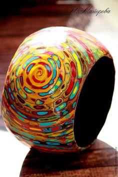Купить браслет яркий вихрь полимерная глина - браслет, браслет летний, раслет широкий