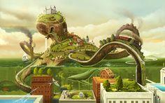 2560x1600_807_The_Octopus_World_2d_surrealism_fantasy_landscape_picture_image_digital_art.jpg (2560×1600)