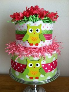Bright Pink and Lime Green Owl Diaper Cake  by PooLaLaDiaperCakes