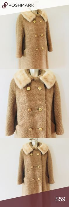"""Vintage 1960's Tan Swing Coat Mink Fur Collar Fabulous luxe wool peacoat swing coat from the 1960's time era! Fully lined, creamy mink fur collar, mid length sleeves, large front panel buttons. Size L, 44"""" bust, 39"""" inches in length  Excellent condition! Jackets & Coats Pea Coats"""