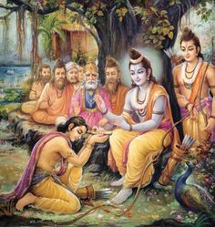 Bharata respectfully receives Brother Rama's padukas to remind him to rule on Rama's behalf until Rama's return from exile.