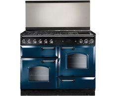 Rangemaster Classic 110 Dual Fuel Lidded CLAS110LDFRB/C Freestanding Dual Fuel Range Cooker - Blue / Chrome