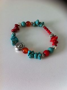 Raw Turquoise, Red Coral & Carnelian