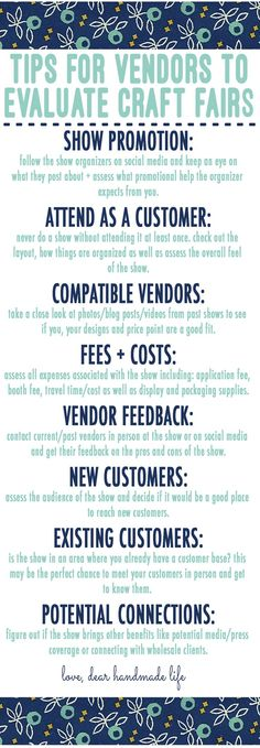 tips-for-vendors-to-evaluate-craft-shows-fairs-festivals-dear-handmade-life Factors to Consider When Evaluating a new Craft Show, Fair or Festival how to evaluate a craft fair Craft Business, Business Tips, Business Essentials, Business Coaching, Business Quotes, Craft Fair Displays, Craft Booths, Display Ideas, Booth Ideas