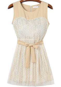Apricot Sleeveless Bow Lace Gauze Pleated Dress 23.67