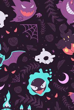By Artist Unknown. Ghost Type Pokemon, All Pokemon, Pokemon Fan Art, Cute Wallpapers, Wallpaper Backgrounds, Pokemon Halloween, Pokemon Backgrounds, Cute Pokemon Pictures, Cute Pokemon Wallpaper