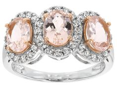 1.78ctw Oval Morganite With .32ctw Round White Zircon Sterling Silver Three-stone Ring