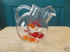 Retro Clear Glass Ball Juice Pitcher with Apple and Orange Design