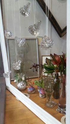 Victorian glass door handles in a frame...