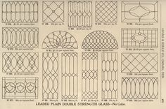 Leaded glass options available in a 1908 Adams & Kelly millwork catalog.