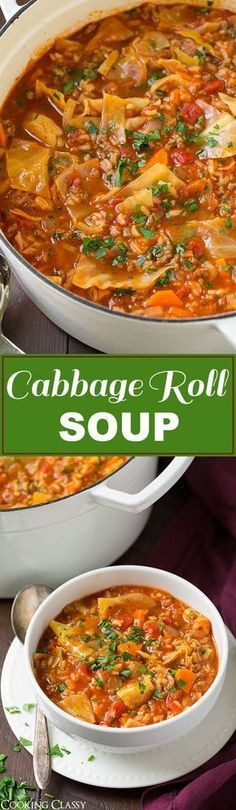 Cabbage Roll Soup – so much easier than stuffing cabbage rolls! This soup is so … Cabbage Roll Soup – so much easier than stuffing cabbage rolls! This soup is so hearty and filling and totally delicious! Will definitely make this again this fall! Cabbage Recipes, Chili Recipes, Soup Recipes, Dinner Recipes, Cooking Recipes, Healthy Recipes, Pastry Recipes, Turkey Recipes, Potato Recipes