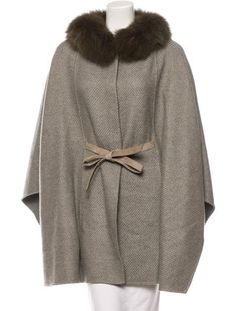 Loro Piana Fox-Trimmed Cashmere Cape w/ Tags