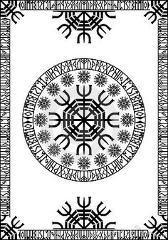 Rectangular panel with runic viking border and circular pattern inside