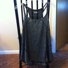 """""""Perfect"""" tank Black and gray heathered tank with back mesh panel, so lightweight and comfortable, it just gathers funny on me in the back, NWOT Catherine Malandrino Tops Tank Tops"""