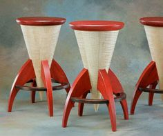 Retro style Rocket Stools by Steve Holman, made from sustainably harvested curly Vermont maple and mahogany with aniline dyes