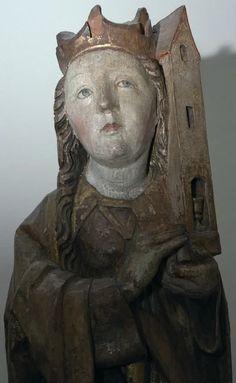 Sainte Barbe, bois polychromé et doré (tilleul) – église de Pikovce – vers 1500