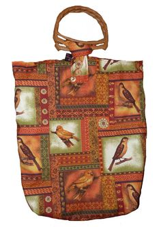 Knitting Bag with Garden Birds by SimJaTa on Etsy