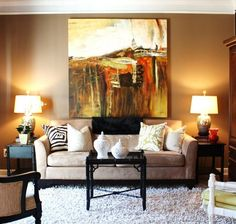 Large art over the sofa