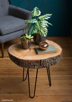 Gardens Discover holzscheiben deko Mid-Century Rustic Wood Slice End Table Natural Wood Coffee Table Diy Coffee Table Diy Table Rustic Table Wood Slice Coffee Table Wood Slab Table Rustic Wood Decor Natural Coffee Wood Logs