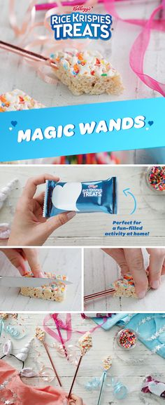 Make magic at your kid's next birthday party by turning NEW Birthday Cake into yummy magic wands. They're the tasty that are easier to make than saying abra cadabra! New Birthday Cake, Frozen Birthday, Unicorn Birthday Parties, Unicorn Party, Princess Birthday, Princess Party, Birthday Ideas, Rice Krispies, Rice Krispie Treats