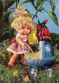 Vintage  doll postcard 60s by CuteEyeCatchers on Etsy