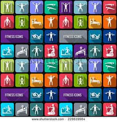 Workout sport and fitness gym training decorative icons flat set isolated vector illustration