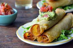 Healthy Baked Chicken and Cheese Taquitos: Rotisserie Chicken, Onion, Garlic, Lime, Cumin, Paprika, S&P, Cheddar, Chicken Broth, Tortillas