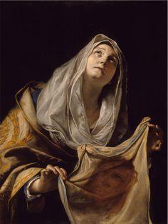 Attributed to Piero di Cosimo (Italian artist, Saint Veronica, c. 1510 Legend holds that Saint Veronica was a pious woman o. Catholic Art, Catholic Saints, Patron Saints, Religious Art, Roman Catholic, Veil Of Veronica, St Veronica, Caravaggio, A4 Poster