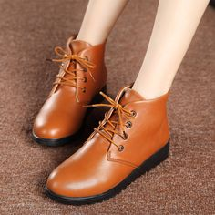 Women's Lace-up Flat Ankle Boots | Upper Material: Leather Outsole Material: Rubber Lining material: Pigskin Heel height: 3 cm Color: Black, Brown #omgnb