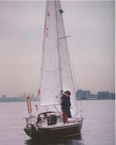 Tania Aebi and her Contessa 26 sailboat Varuna, she is the youngest woman ever to sail around the world solo
