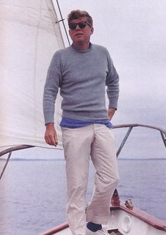 President John F. Kennedy aboard the US Coast Guard yacht Manitou off the coast of Maine. Casual Ivy style at its best.