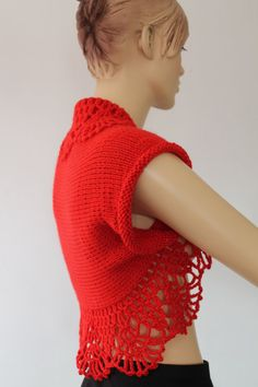 Hand Knitted  Crocheted Red  Shrug Bolero   Fall  por levintovich