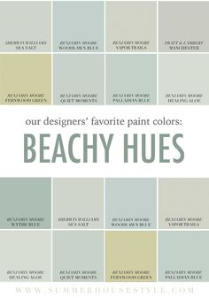 beach house interior paint colors the best paint colors picked by the interior designers at summerhouse color schemes paint color pick beach house interior paint ideas Beachy Paint Colors, Coastal Colors, Paint Colors For Home, Coastal Style, Coastal Decor, Coastal Interior, Paint Colours, Cottage Paint Colors, Coastal Color Palettes